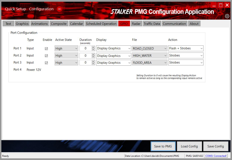 Stalker PMG Configuration